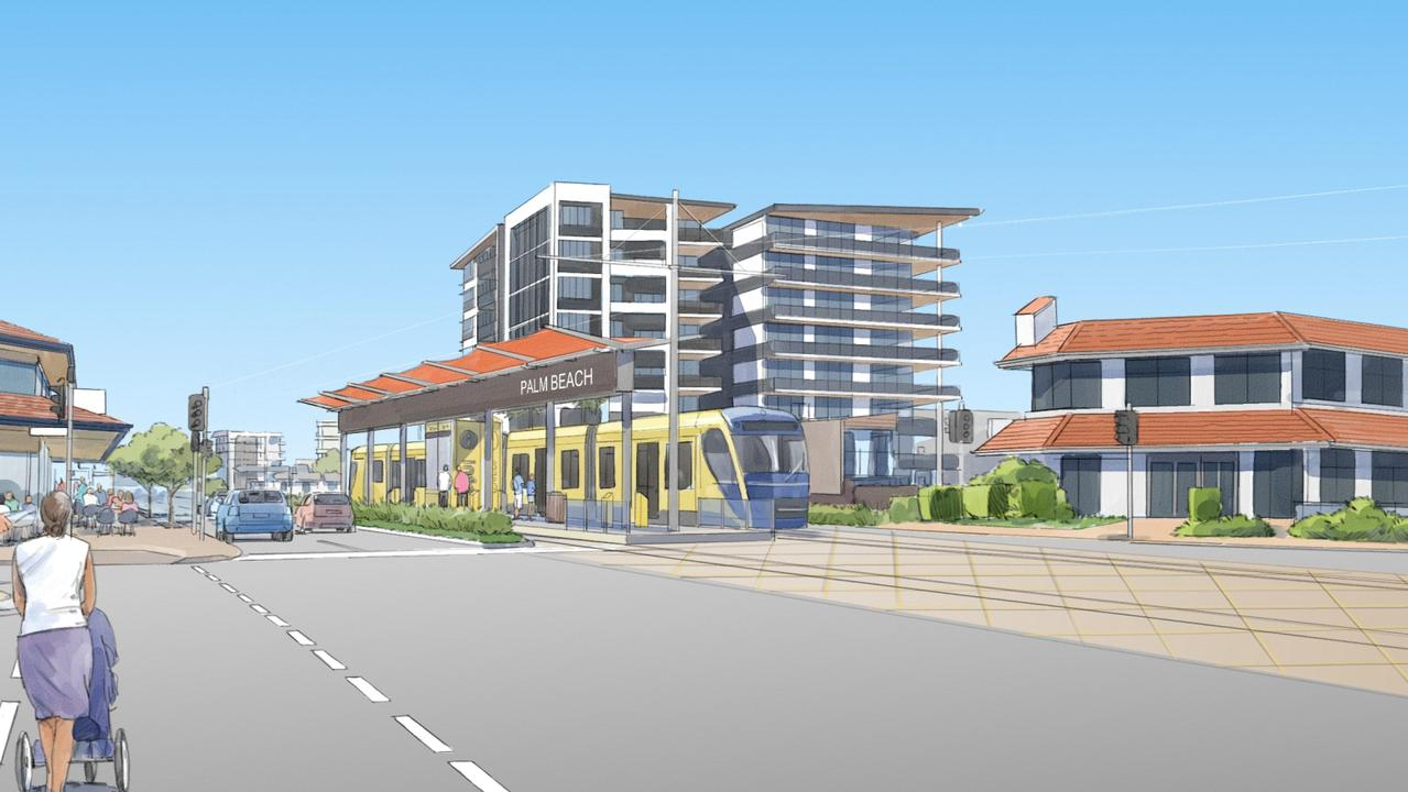 How trams will look in central Palm Beach. Picture: Supplied