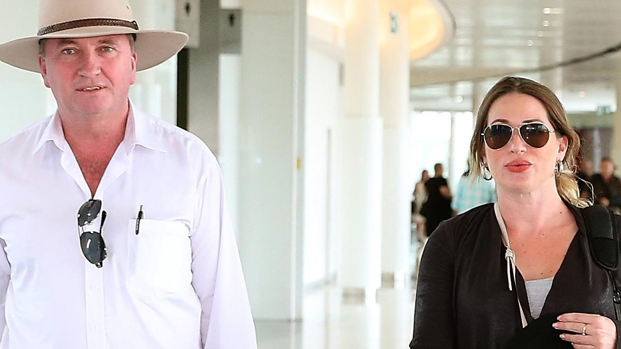Former Deputy Prime Minister Barnaby Joyce and Vikki Campion at Canberra airport. Picture: Kym Smith