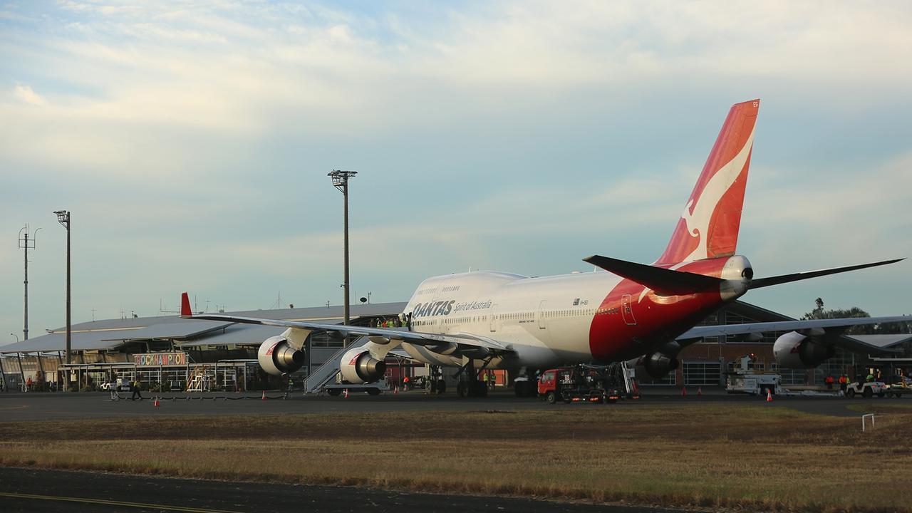 A 747 QANTAS plane at Rockhampton Airport.