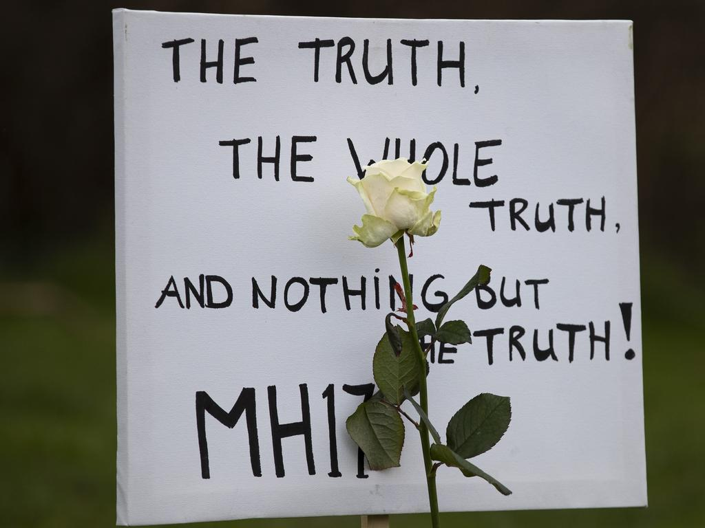 A sign at the chair tribute. Picture: AP/Peter Dejong