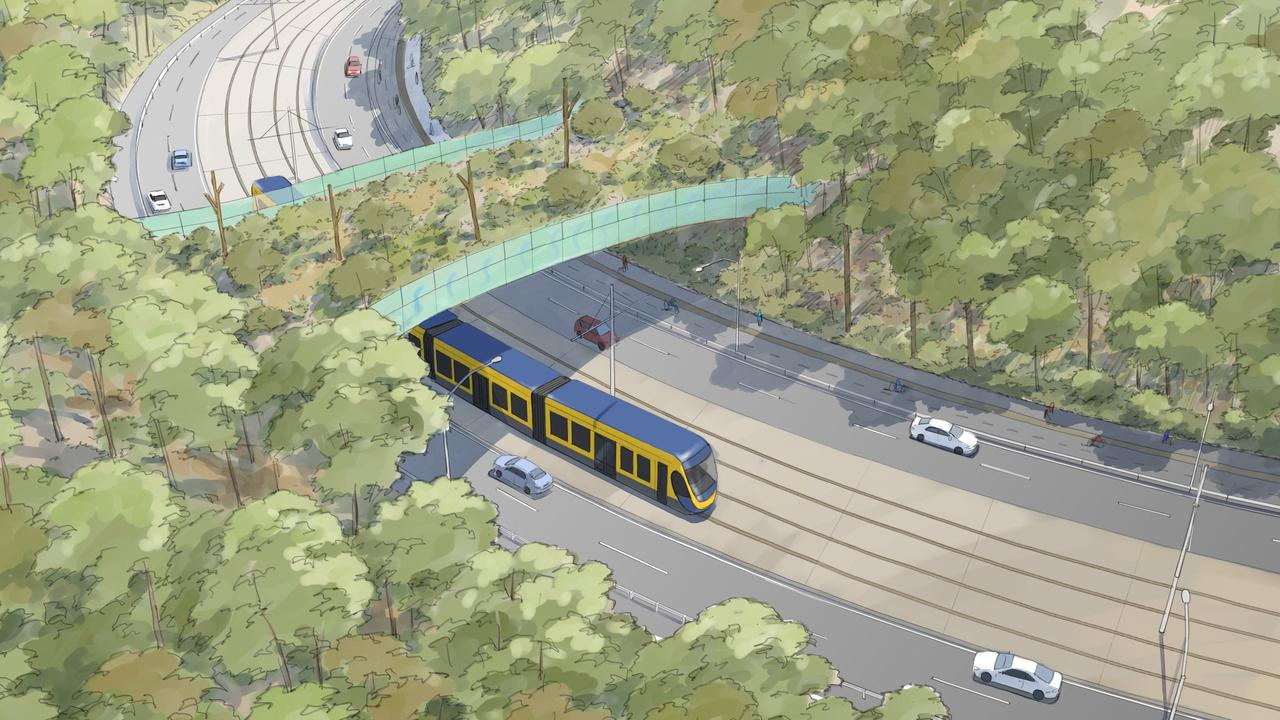 Artist impressions of Gold Coast light rail Stage 3B - Burleigh Heads to Gold Coast Airport. Picture: Supplied