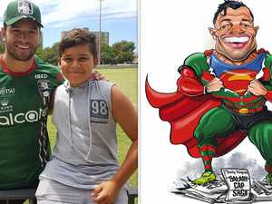 Rabbitohs star takes younger brother out of harm's way