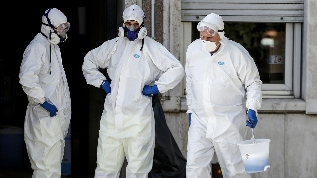 Buildings are disinfected in Rome as Italy reacts to the coronavirus outbreak. Picture: Cecilia Fabiano/LaPresse via AP