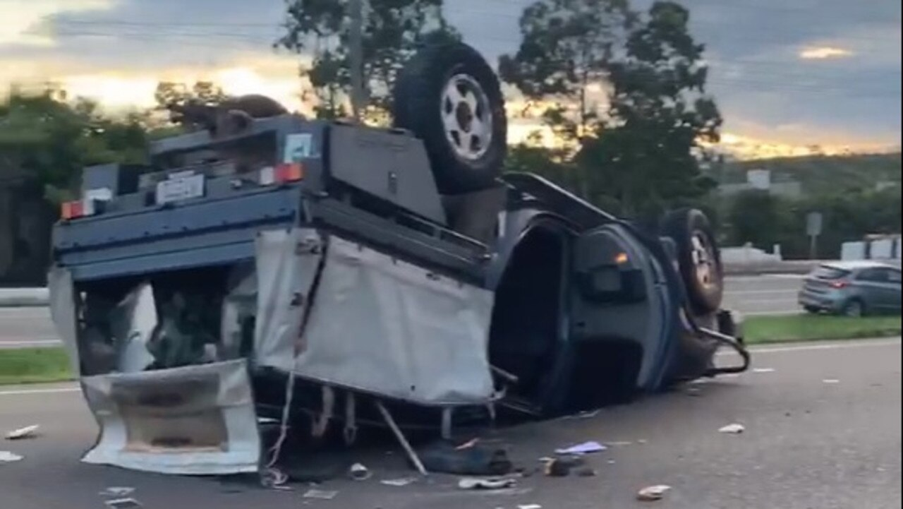 A vehicle has rolled on the Bruce Highway at Burdell. Source: Facebook