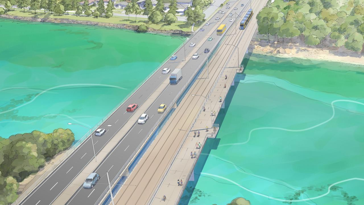 How trams will cross Tallebudgera Creek Picture: Supplied