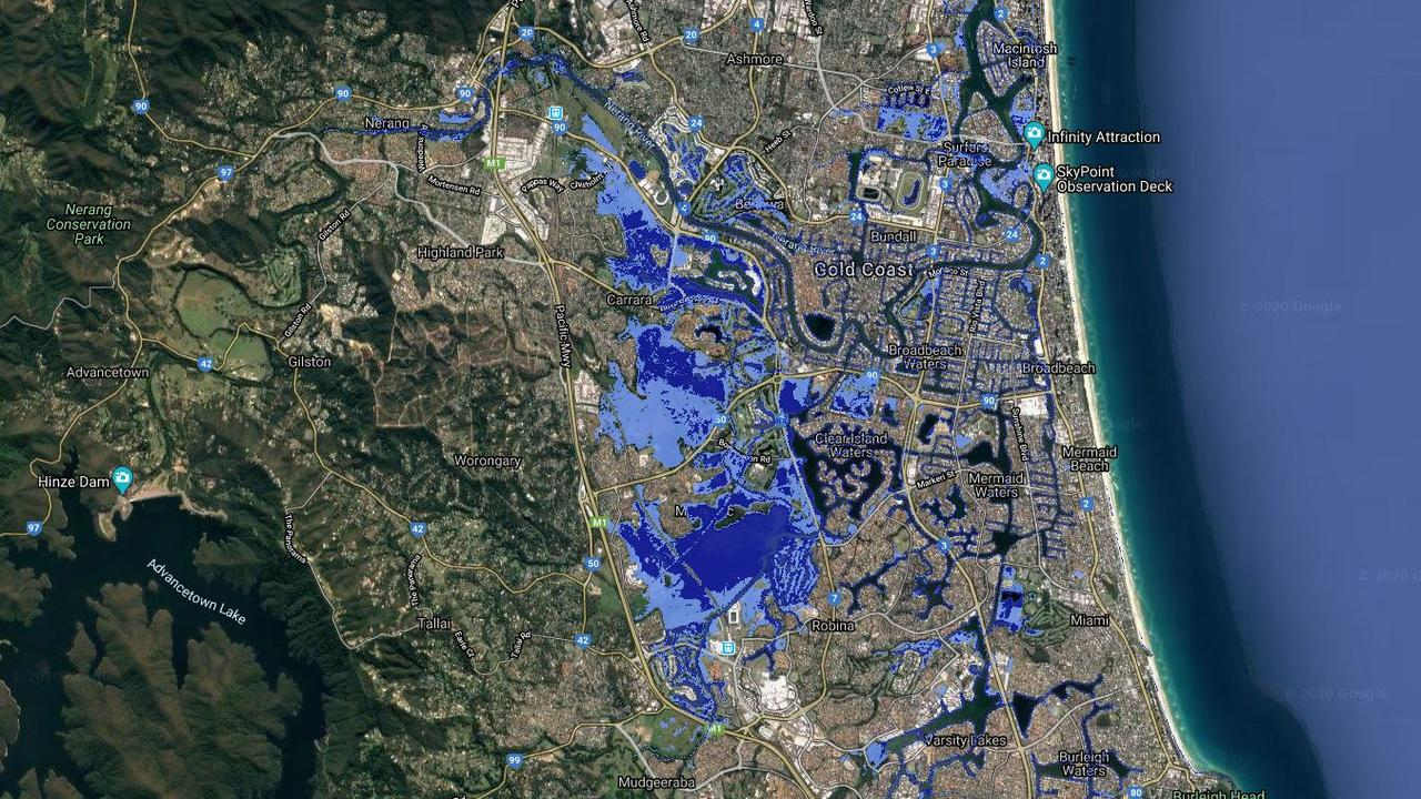 Modelling of sea level rises on the Gold Coast. Dark blue is current day, light blue is the scenario in 2100. Picture: Coastal Risk Australia