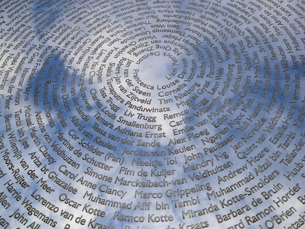 The national MH17 monument that carries the names of the MH17 victims in Vijfhuizen, Netherlands. Picture: AP/Peter Dejong