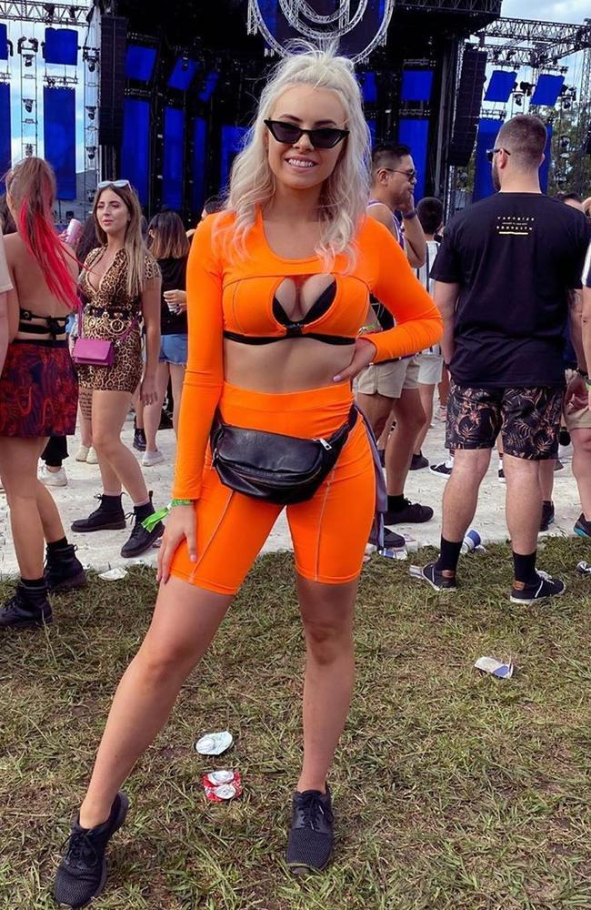 This Sydney festival goer went for a neon co-ord set with a risque bra detail. Picture: Instagram /