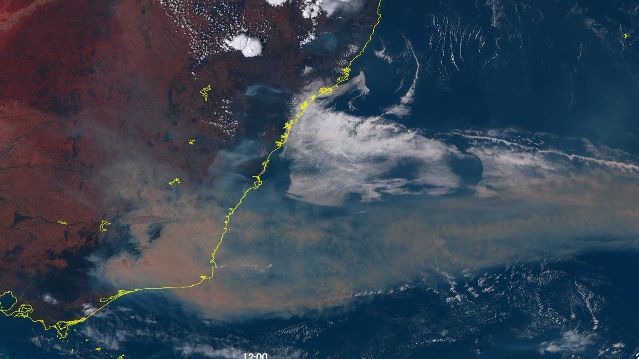 An image from the Himawari-8 satellite shows Australia's southeast in the midst of the bushfires.