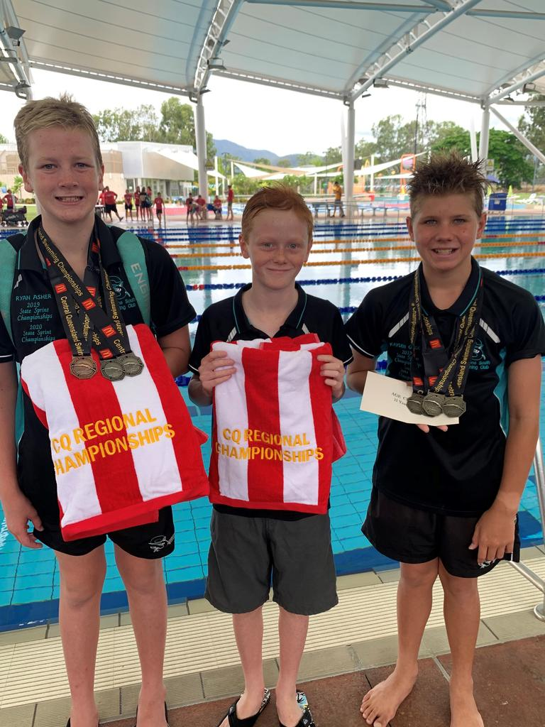 Kayden Gibson (Age Champion), Ryan Asher and Josh Platten (Tied Runner Up Age Champions). PICTURE: Andrea Asher