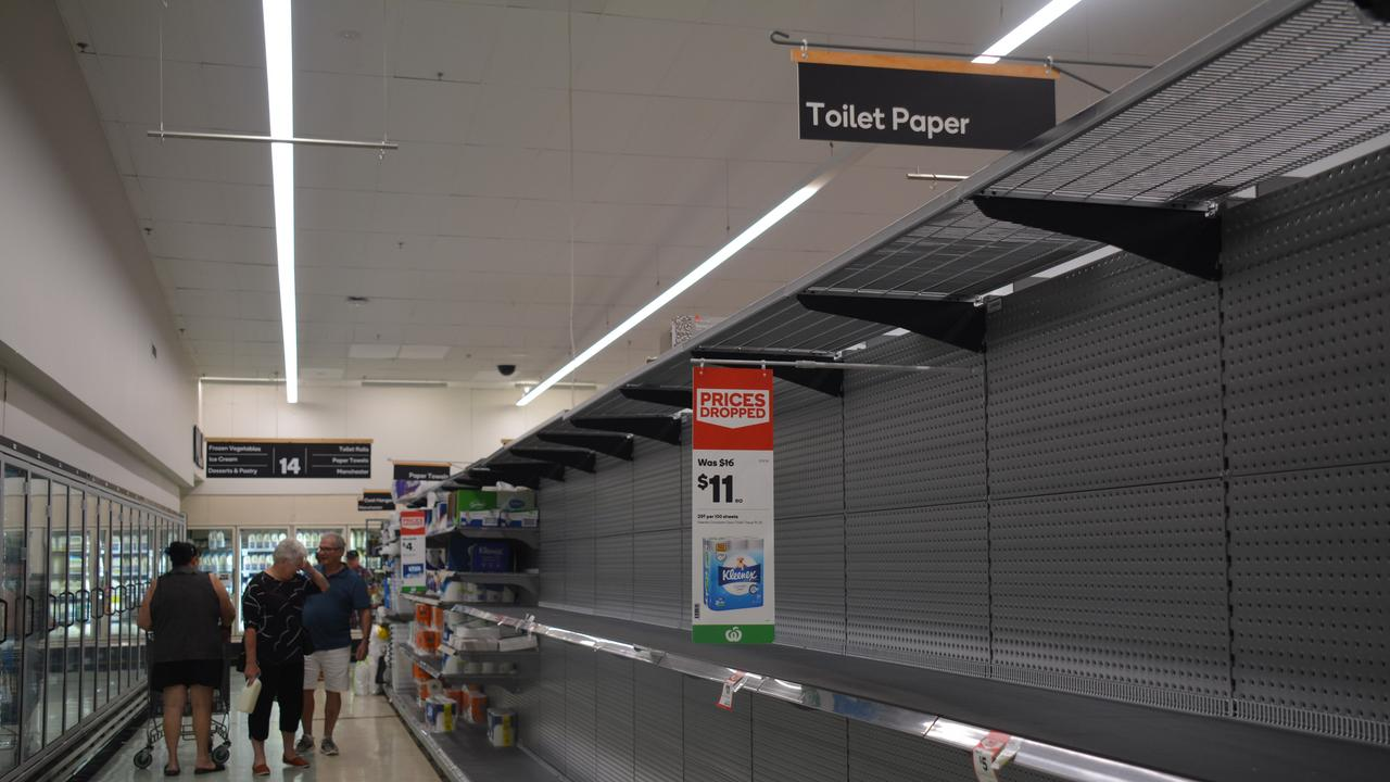 The national toilet paper shortage has even extended to the small country town of Kingaroy where the local Woolworths didn't have a single roll in sight.