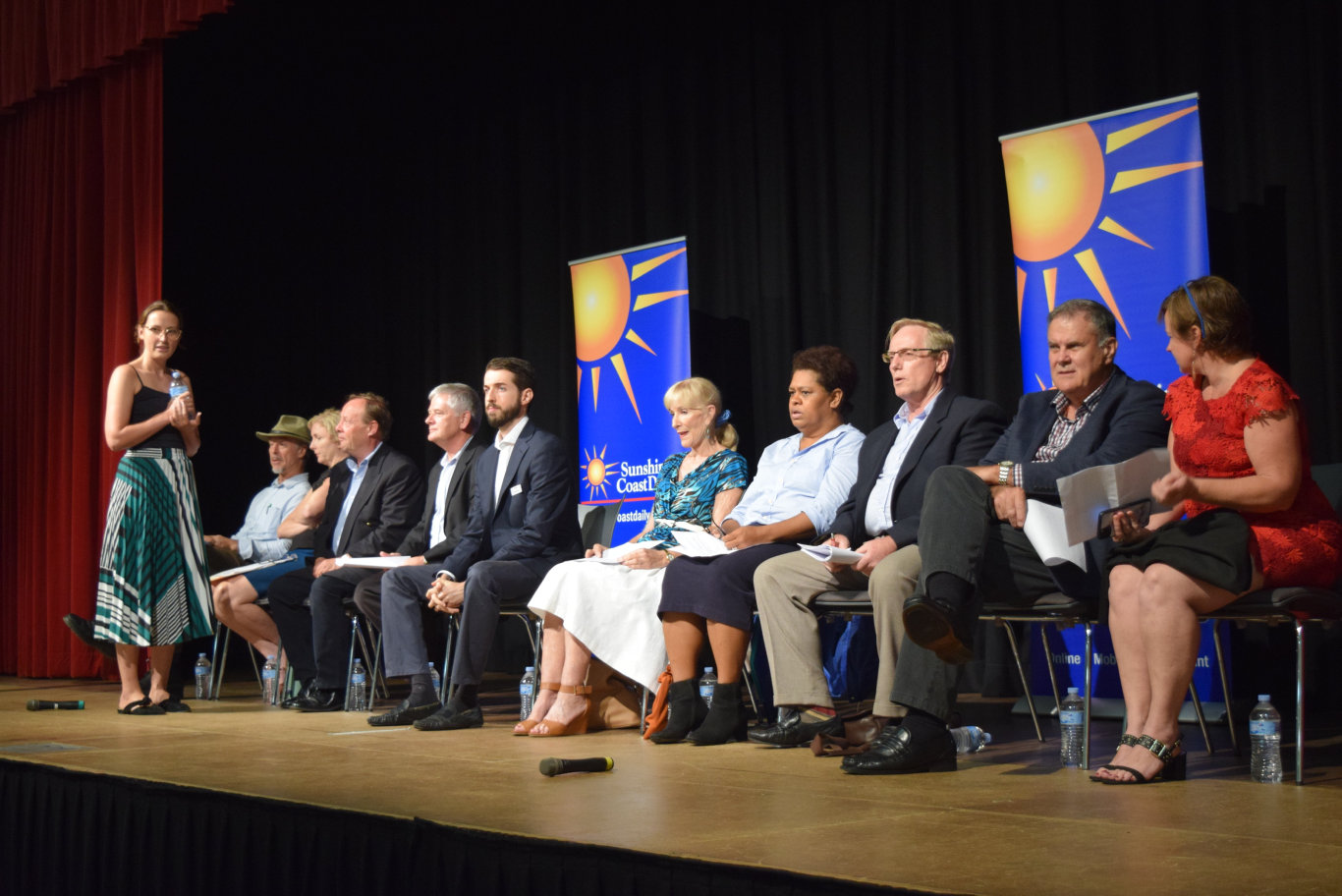 Sunshine Coast Daily editor Nadja Fleet speaks with Division 5 candidates at the Sunshine Coast Daily's election forum in Maleny.