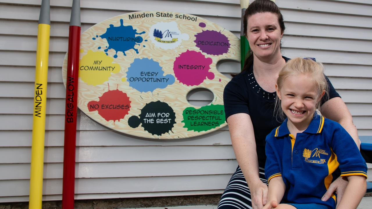 FAMILY AFFAIR: Former Minden State School student Jackie Schmidt with her daughter, and current prep student, Heidi. Picture: Dominic Elsome