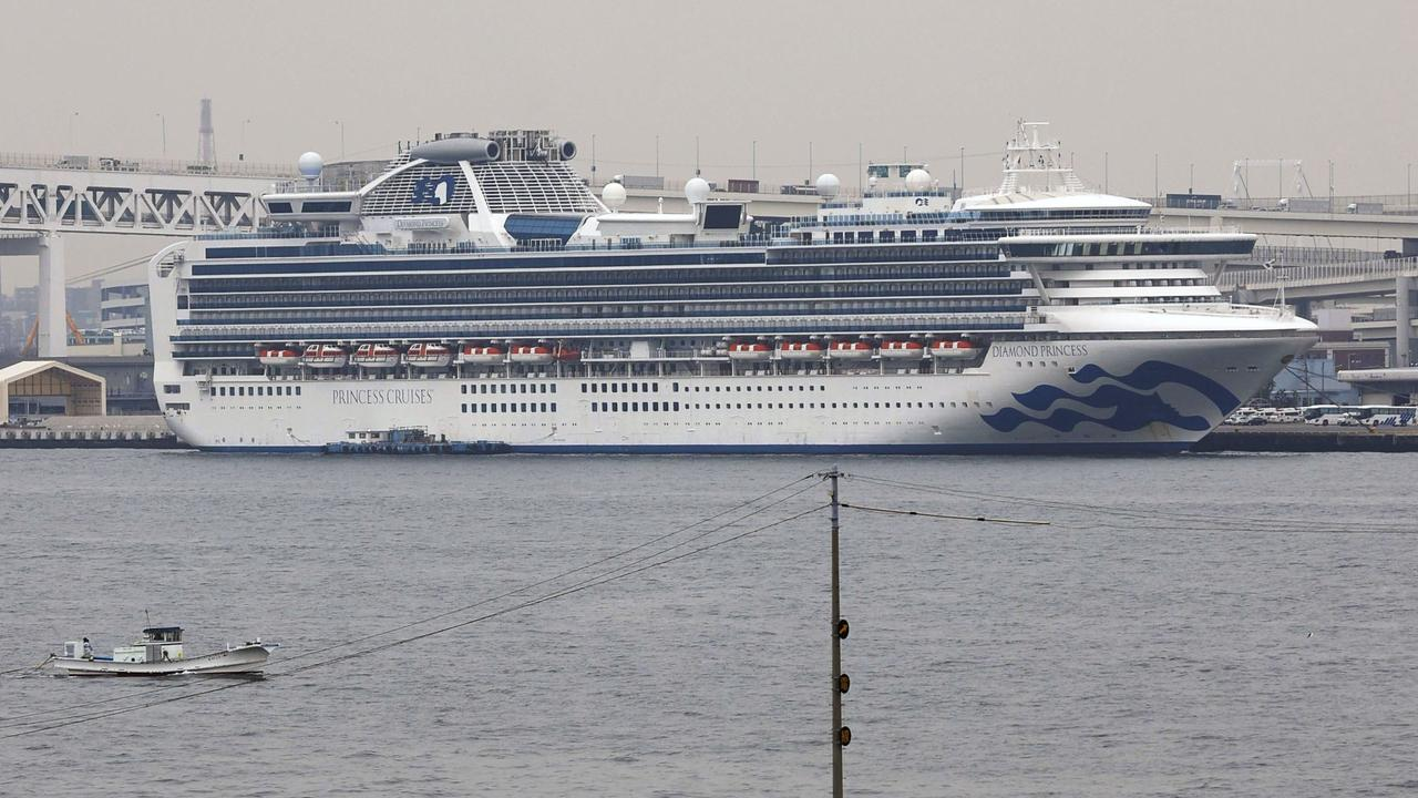 The Diamond Princess cruise ship anchored off Yokohama, Tuesday. Picture: Kyodo News