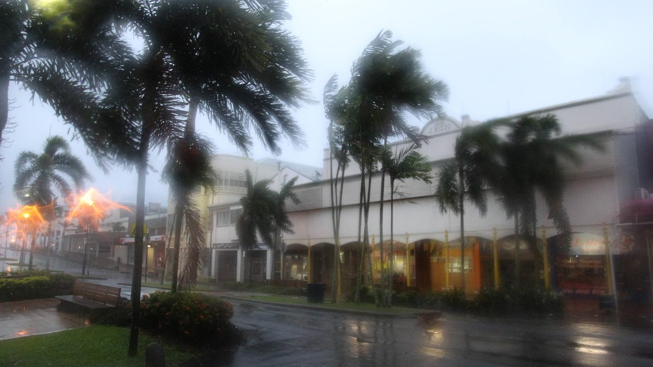 Strong winds and rain lash Rankin Street in the centre of the town of Innisfail as category 5 Tropical Cyclone Yasi crosses the Northern Queensland coast.