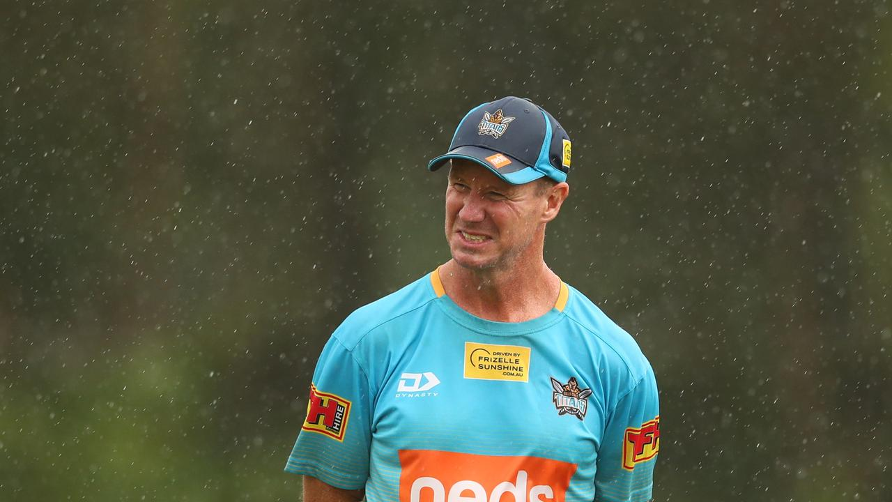 Coach Justin Holbrook looks on during a Titans training session on the Gold Coast. Picture: Chris Hyde/Getty Images