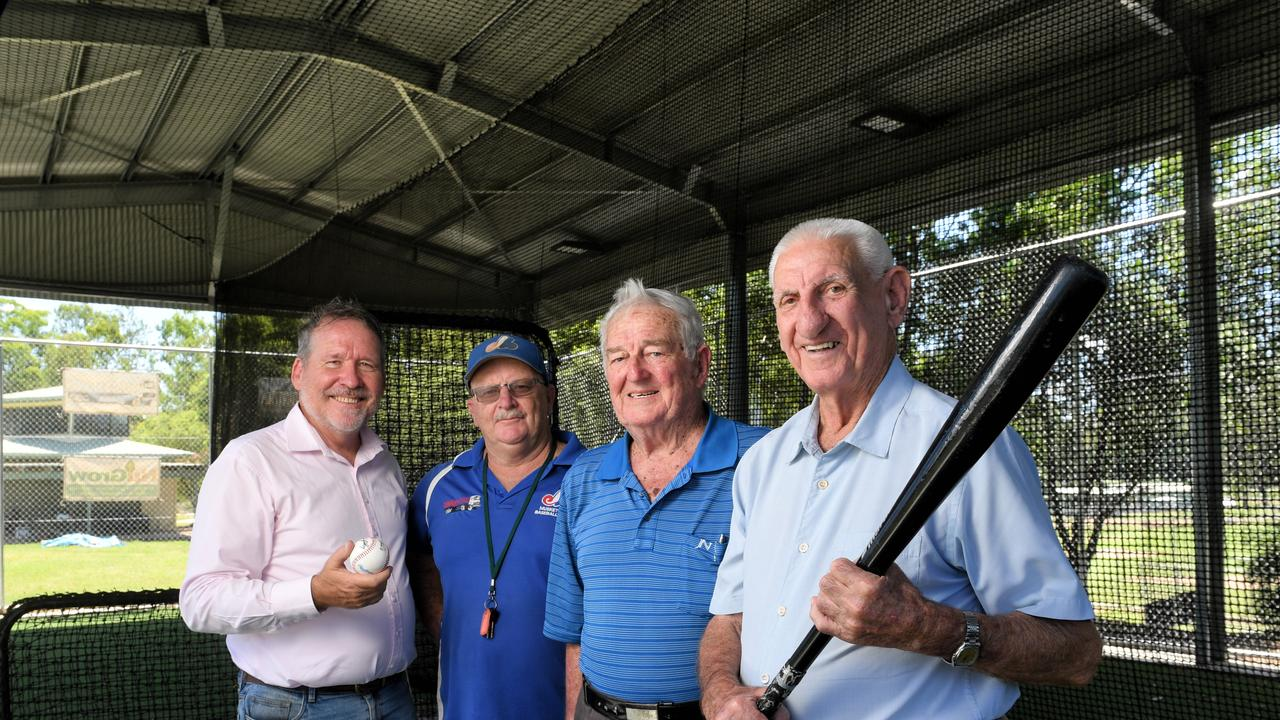 HITTING ZONE: Ipswich West MP Jim Madden with Ipswich Musketeers president Jon Campbell and foundation club members Ken Hogan and Neil Bradley inside the new batting cage facility built at Tivoli.