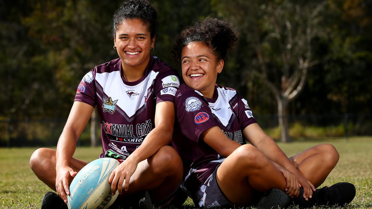 Sisters and Burleigh Bears teammates Zahara and Chante Temara. Picture: Adam Head.