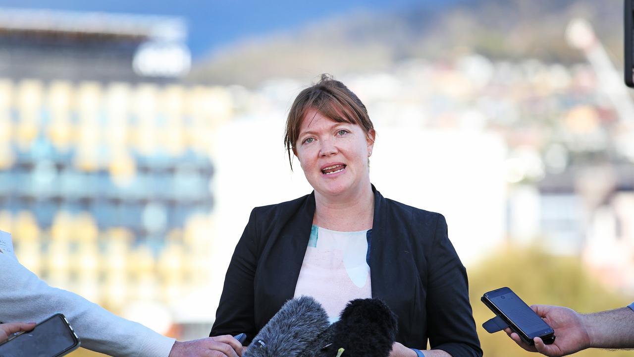 Shadow Minister for Health Sarah Lovell addresses the media on developments regarding coronavirus. Picture: Zak Simmonds