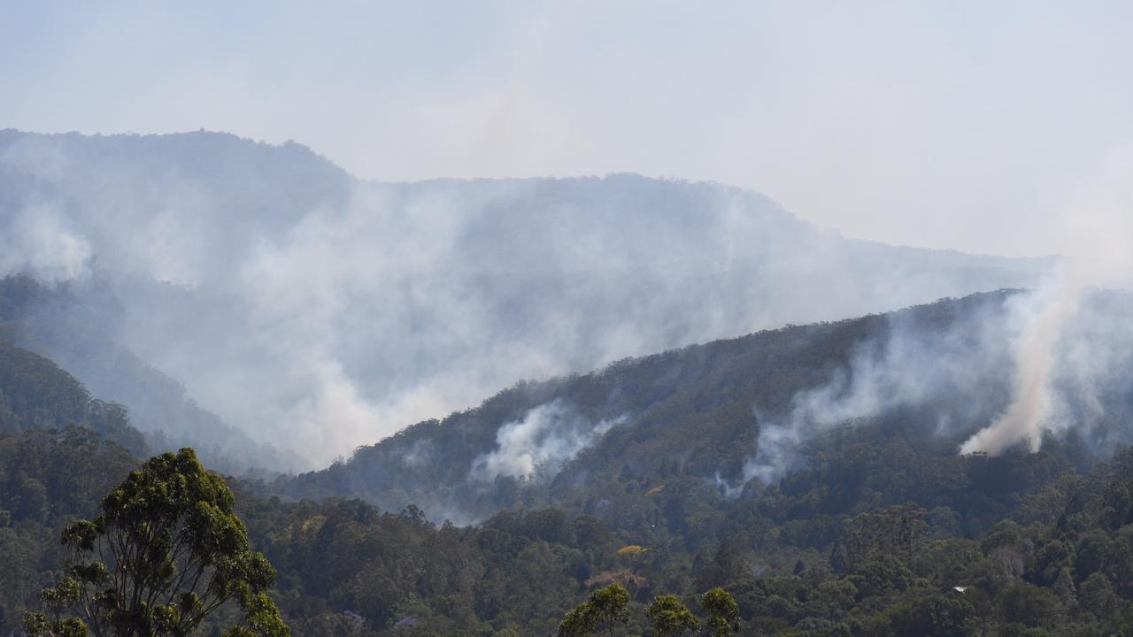 Fires on the hills of Mt Nardi and Tuntable Falls bear Nimbin which began burning last late last year and were extinguished by rains in mid-January.