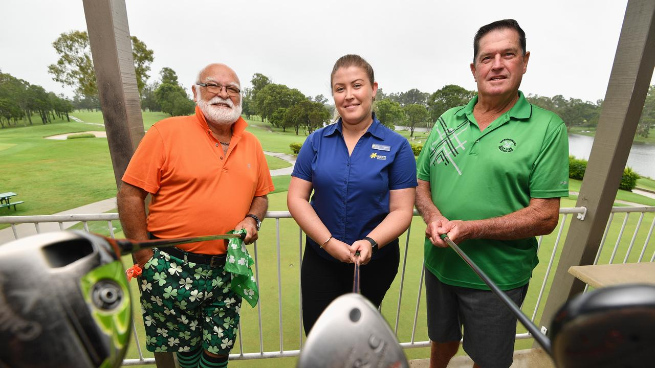 Maryborough Colf Club charity gold day - (L) Roger Bowden and Larry Blake (Pres. Maryborough Veterans Golf Club) with Rebecca Field from Cancer Council Queensland.Photo: Alistair Brightman
