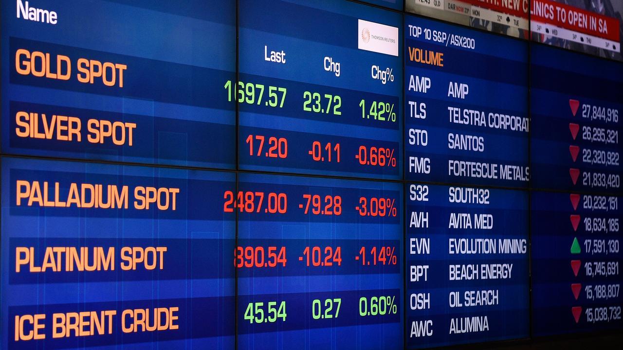 Digital market boards at the Australian Stock Exchange (ASX) in Sydney. Picture: AAP/Bianca De Marchi