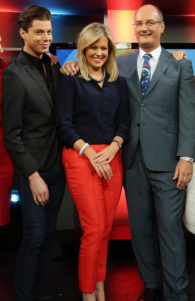 Executive producer of Sunrise Michael Pell with hosts Samantha Armytage and David Koch.