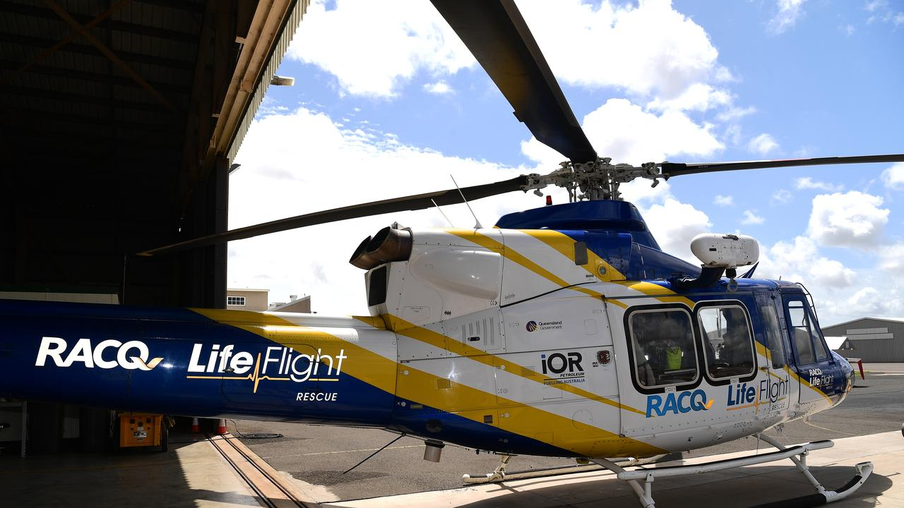 The RACQ LifeFlight rescue helicopter at Bundaberg Airport.