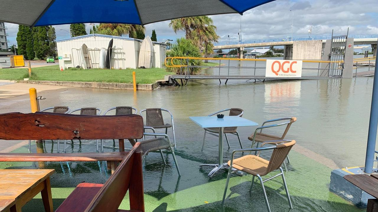 This morning's high tide caused water to rise higher than usual at the Gladstone Yacht Club, but no damage was reported.