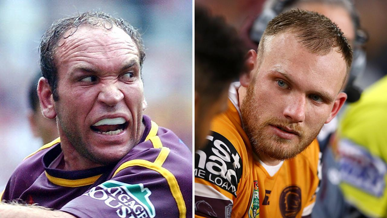 Broncos legend Gorden Tallis and forward Matt Lodge.