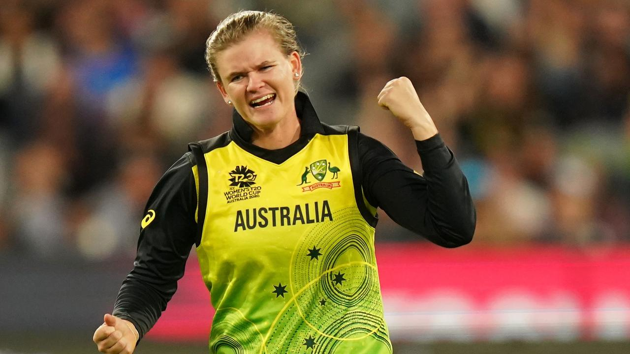 YOU BEAUTY! Jess Jonassen celebrates after taking one of her three wickets in the T20 World Cup final against India on Sunday. Picture: AAP Image/Scott Barbour