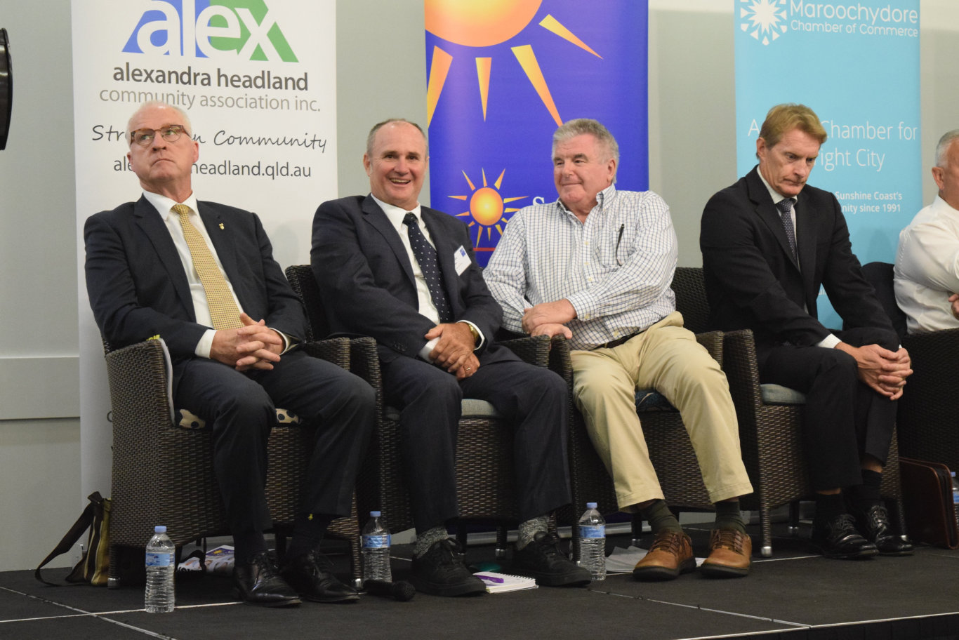 Mayoral candidates Mark Jamieson, Don Innes, Michael Burgess and Chris Thompson at a Sunshine Coast Daily election forum in Maroochydore.