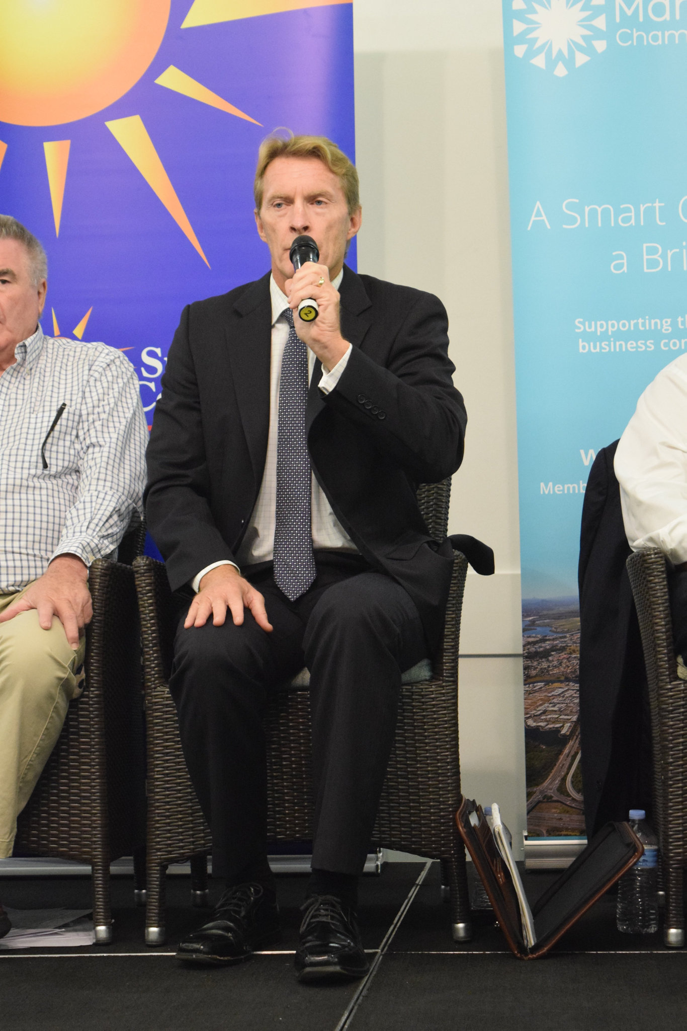 Mayoral candidate Chris Thompson speaks at a Sunshine Coast Daily election forum in Maroochydore.