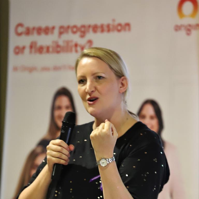 Dr Christine Ball presenting during Origins International Women's Day.