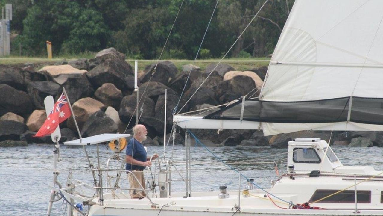 Bill Hatfield sails into the Gold Coast on February 22, at 81 becoming the oldest person to sail solo, non-stop and unassisted around the world. PHOTO: Nick Halsey
