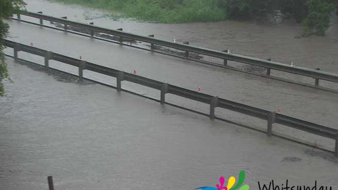 Crofton Creek Bridge has flooded, forcing Gregory-Cannon Valley Rd to close. Picture courtesy of Whitsunday Regional Council.