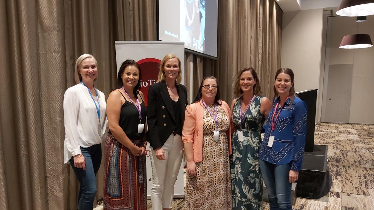 Carla Nolan, Michelle Coats, Katrina Webb, Sarah Brokken, Dani Harrison and Kylie Devine-Hewitt at the Rio Tinto Yarwun International Women's Day event at Yaralla.