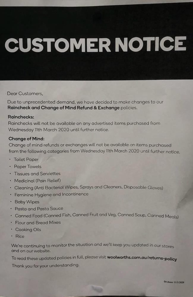 The notice of change, being posted across numerous Woolworths stores.