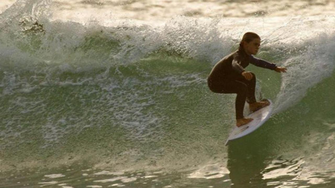 9 year old Henley Smith showing her style on a nice wave for Byron Bay Boardriders.