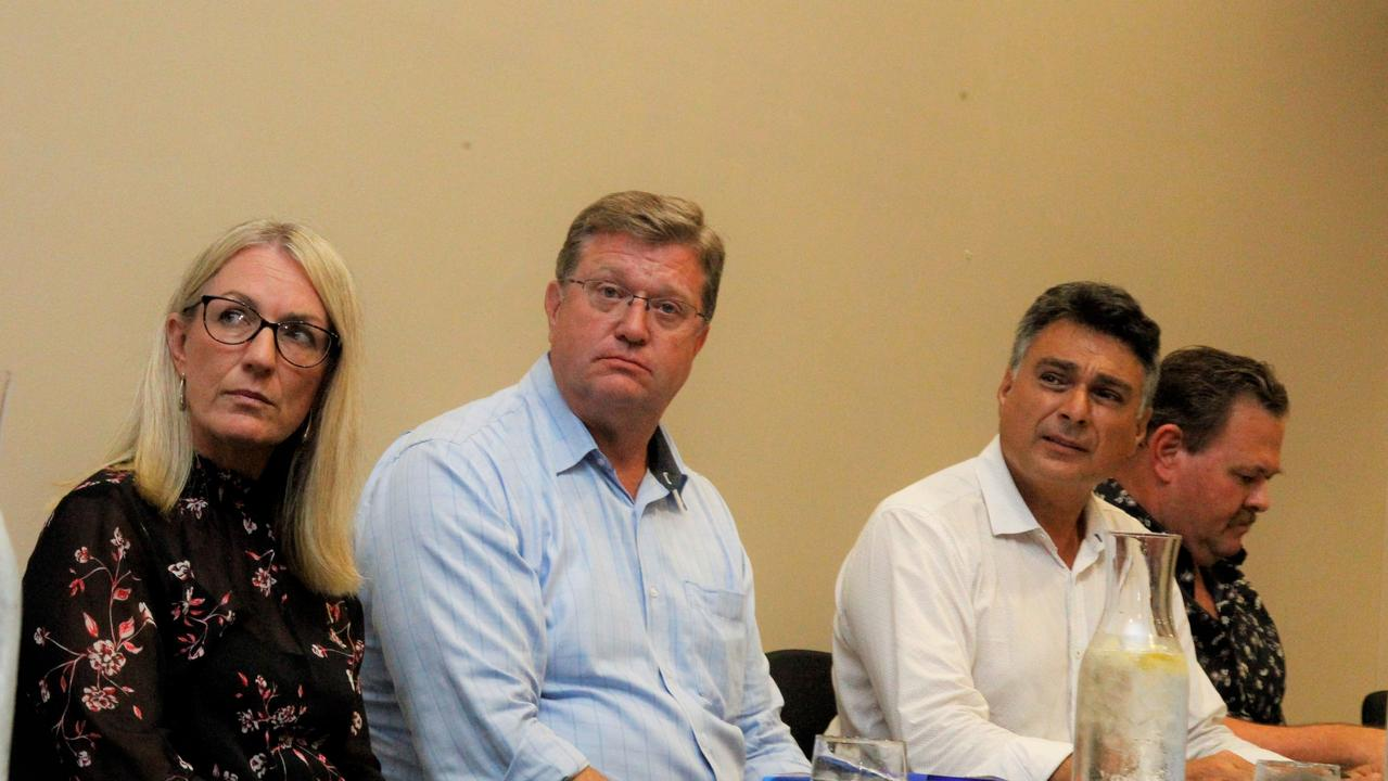 LNP Barron River candidate Linda Cooper sits on the panel of the Cairns Community Crime Forum with LNP police spokesman Trevor Watts, Cairns LNP candidate Sam Marino and Crime and Justice Action Group spokesman Aaron McLeod. Picture: PETER CARRUTHERS