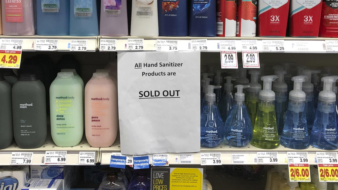 The hoarding of certain products like hand sanitiser show how quickly some people are willing to take things. Picture: AP/Ted S. Warren