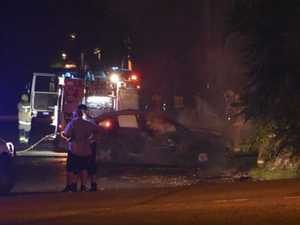 Spectacular images of South Grafton car fire