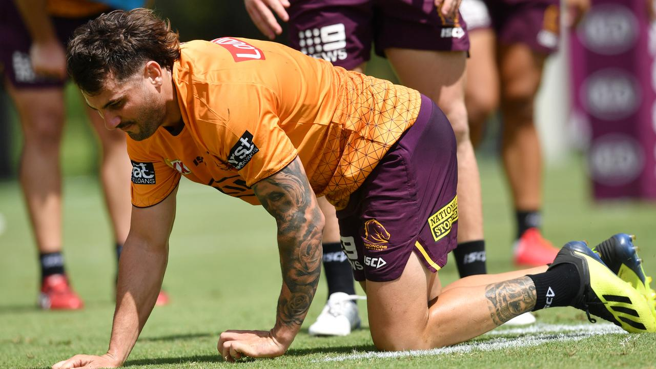 Jack Bird went down with a knee injury at Broncos training.