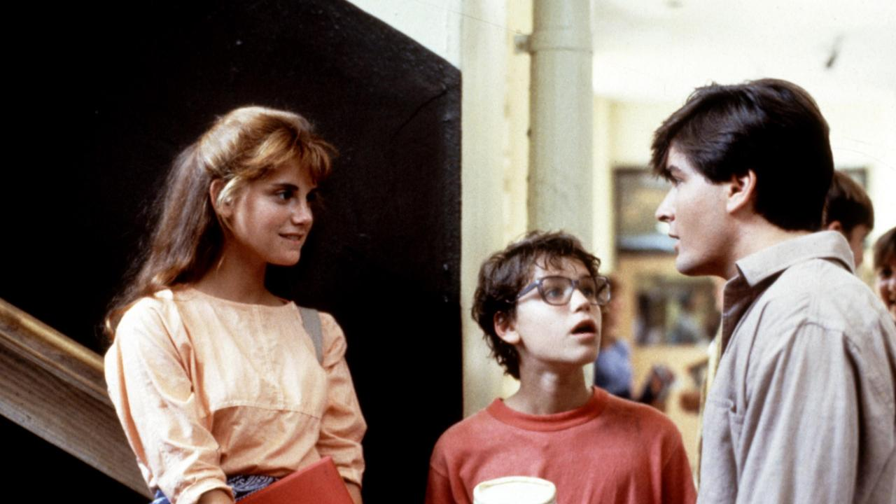 Kerri Green, Corey Haim and Charlie Sheen on the set of 1986 film Lucas.