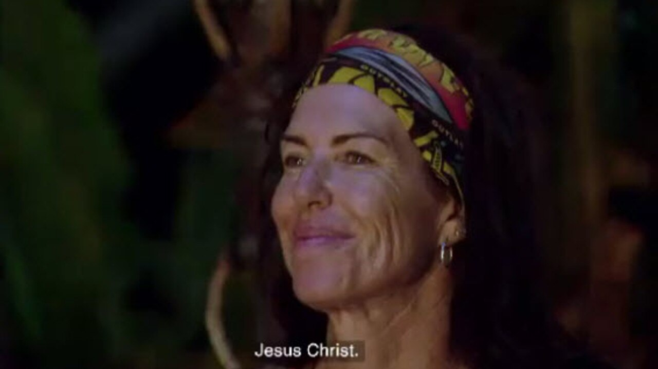 Jacqui looks quite pleased with herself as her tribemates scramble.