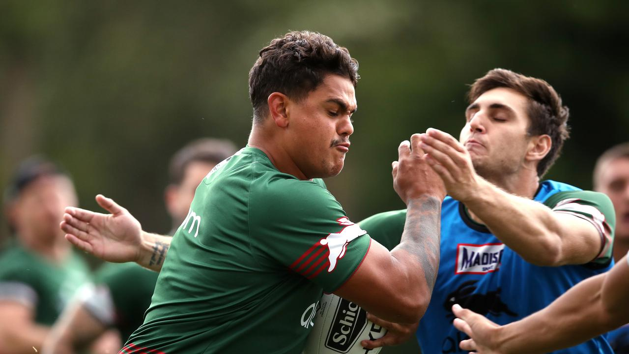 Latrell Mitchell barges ahead during a Rabbitohs training session ahead of their first game of the season against the Sharks. Picture: Phil Hillyard