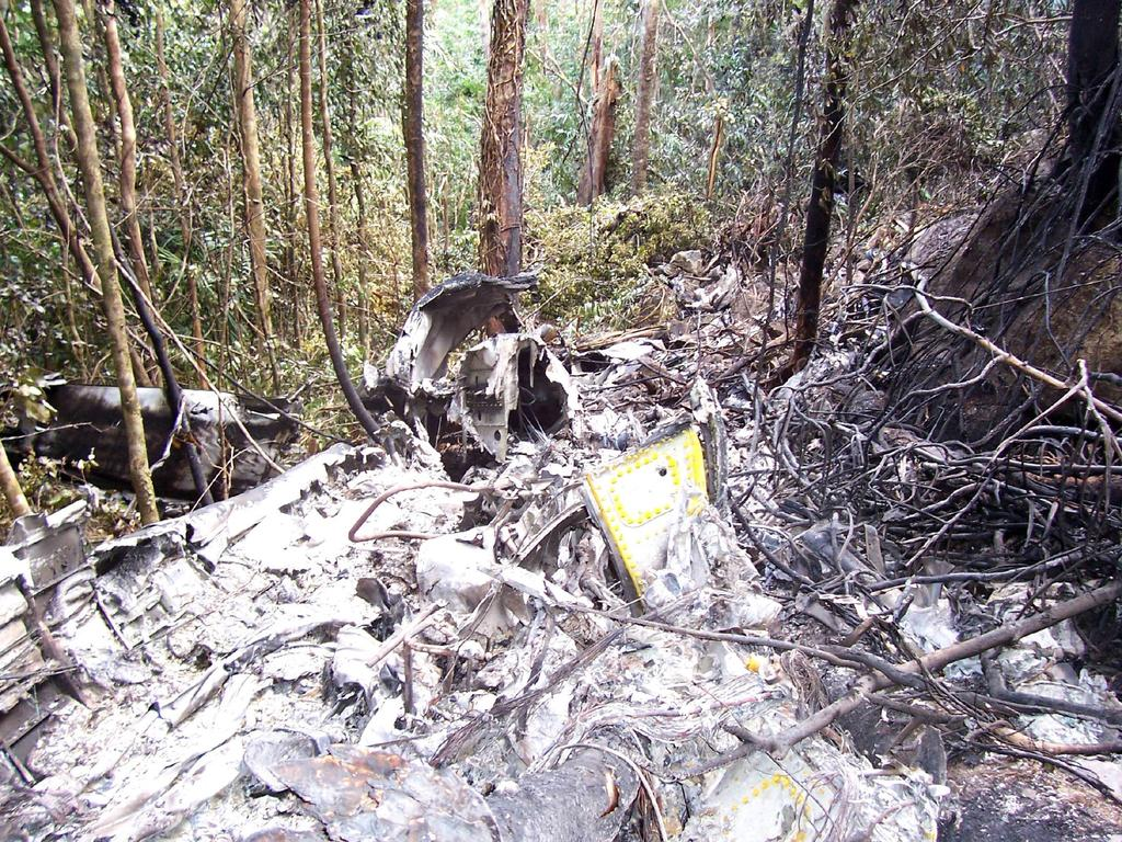 Site where the Fairchild Metro (Metroliner) 23 turboprop plane crashed in dense forest 10km from Iron Range Airport at Lockhart River, on May 7, 2005. Picture: Peter Wallis