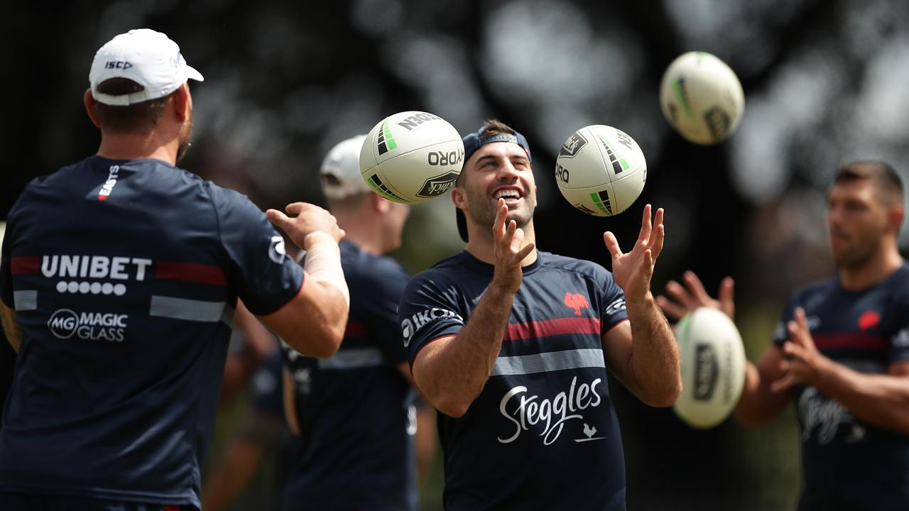 James Tedesco can't get enough of the ball at a training session this week. Picture: Mark Metcalfe/Getty Images