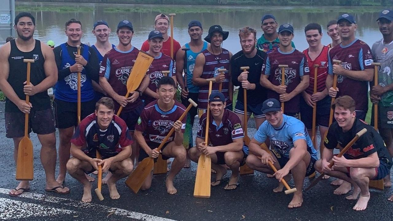 MIXING IT UP: The CQ Capras under-20s did a training session with members of the Rockhampton Dragon Boat Club at the weekend.  Picture: Contributed