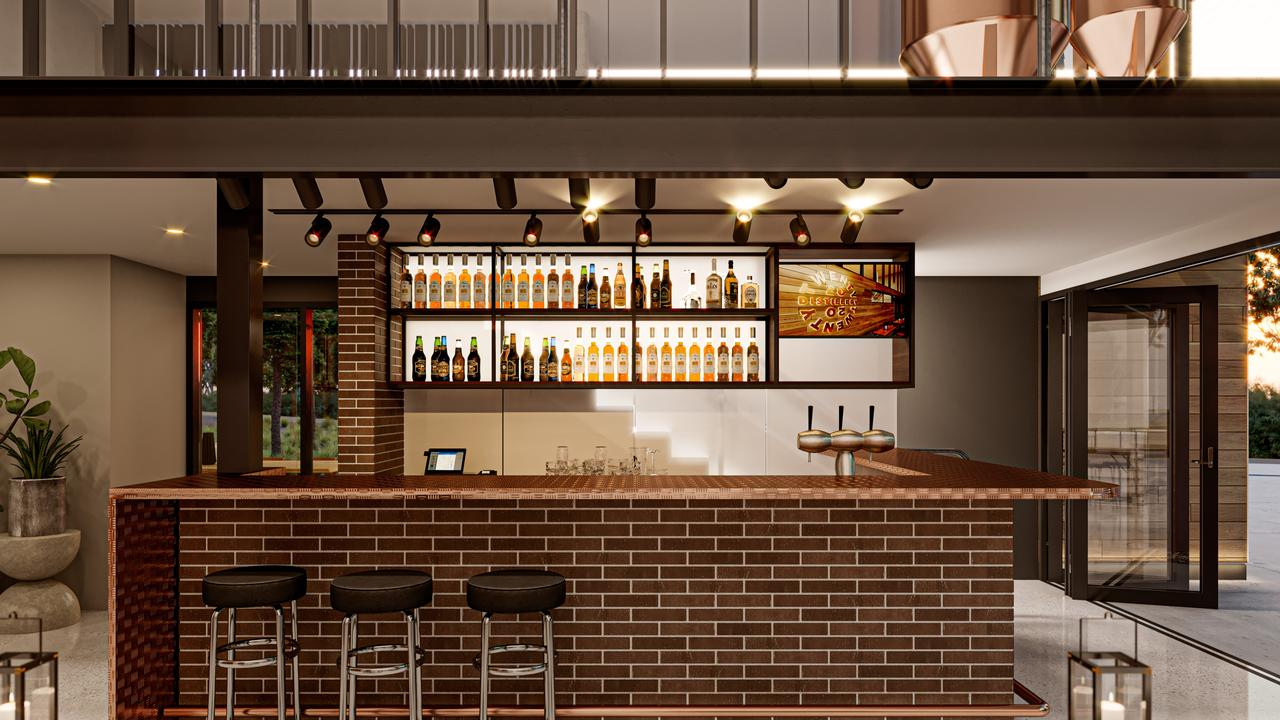 A render of the tasting bar for 20 20 Distillery in Cooroy.